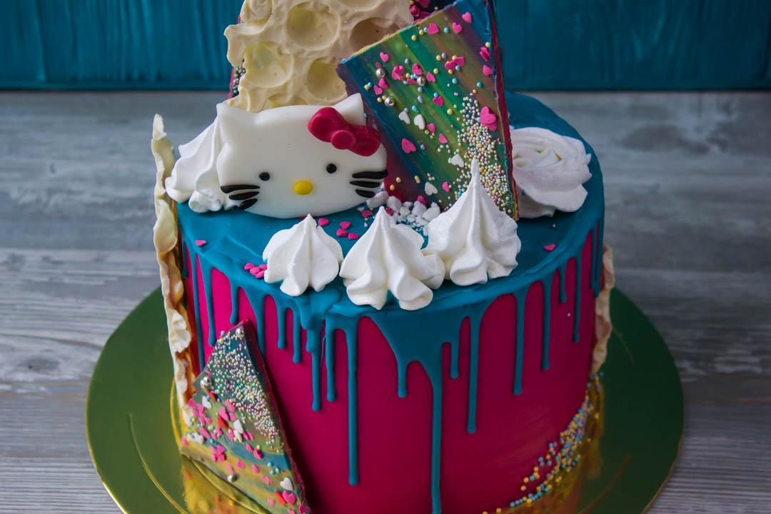 Цветные подтёки на торте