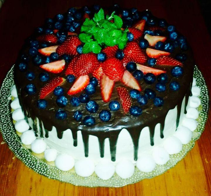Шоколадный подтек на торт